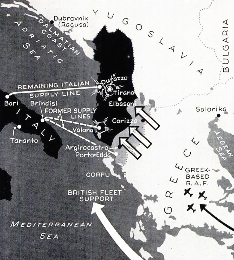 Greek invasion Albania map