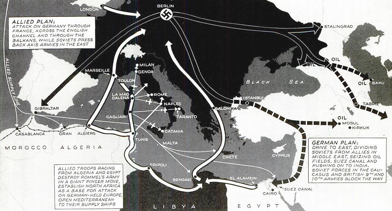 Mediterranean war plans map