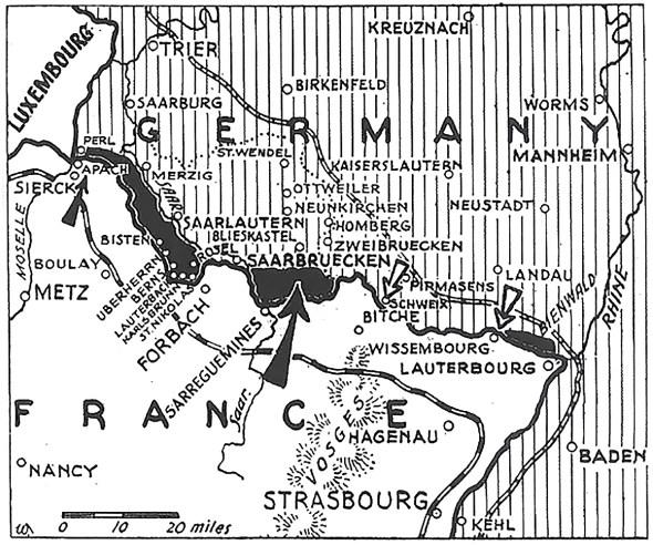 France Saar Offensive map
