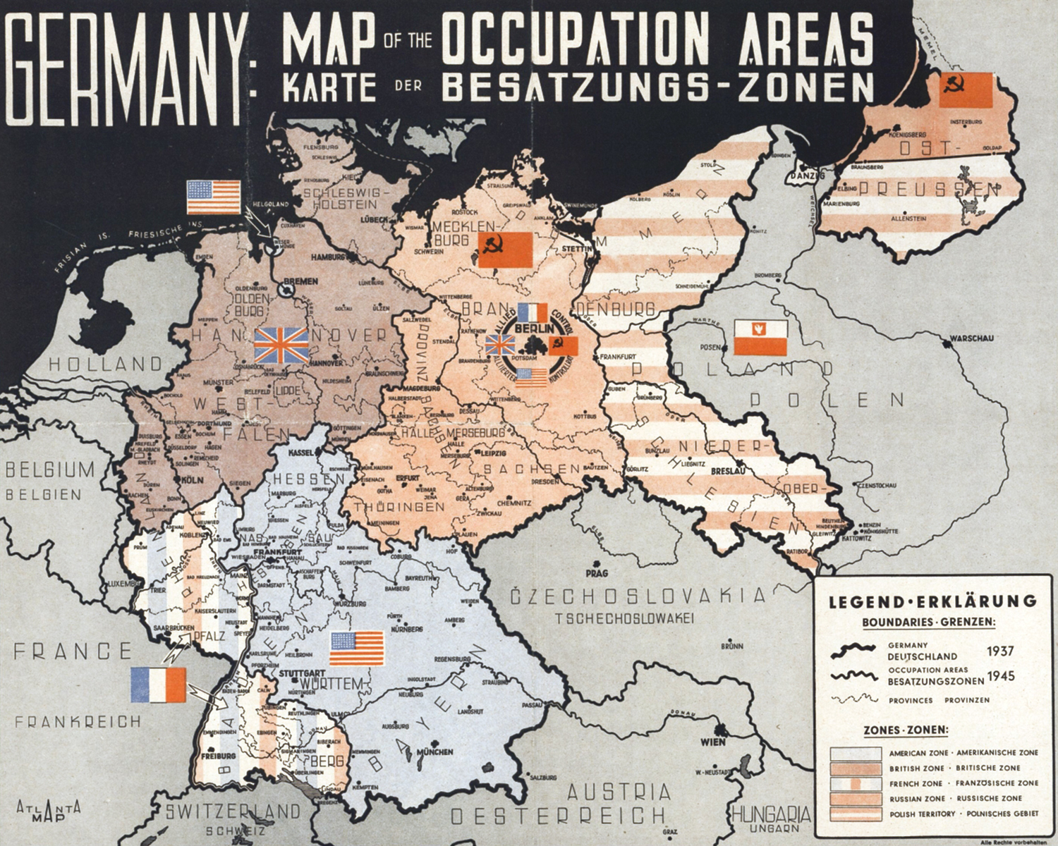 Germany occupation areas map