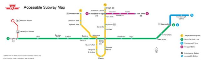Subway diagram showing only fully accessible subway stations
