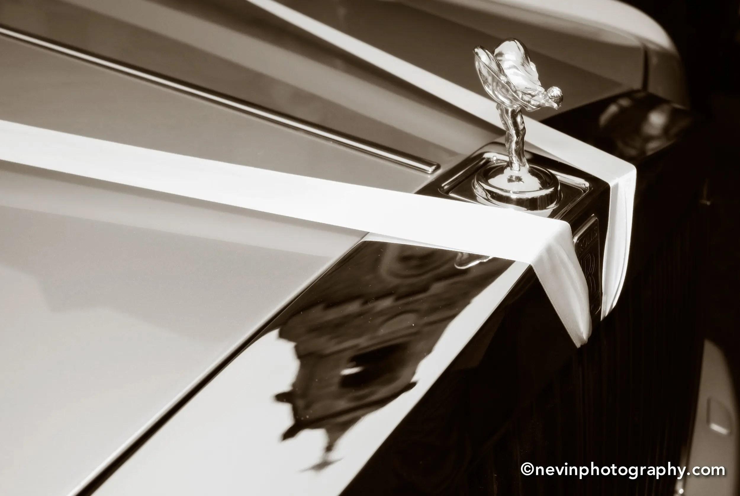 Black and white photo of a Wedding Car Dublin-1950's model