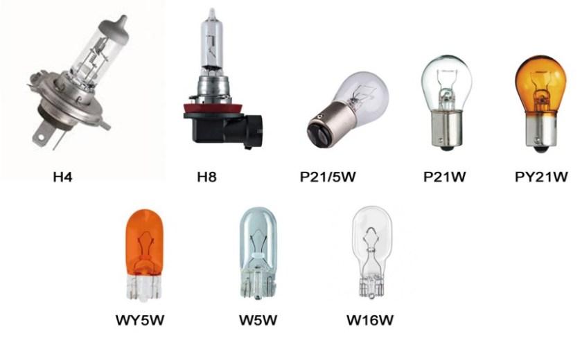 Список ламп, устанавливаемых на KIA Rio 3