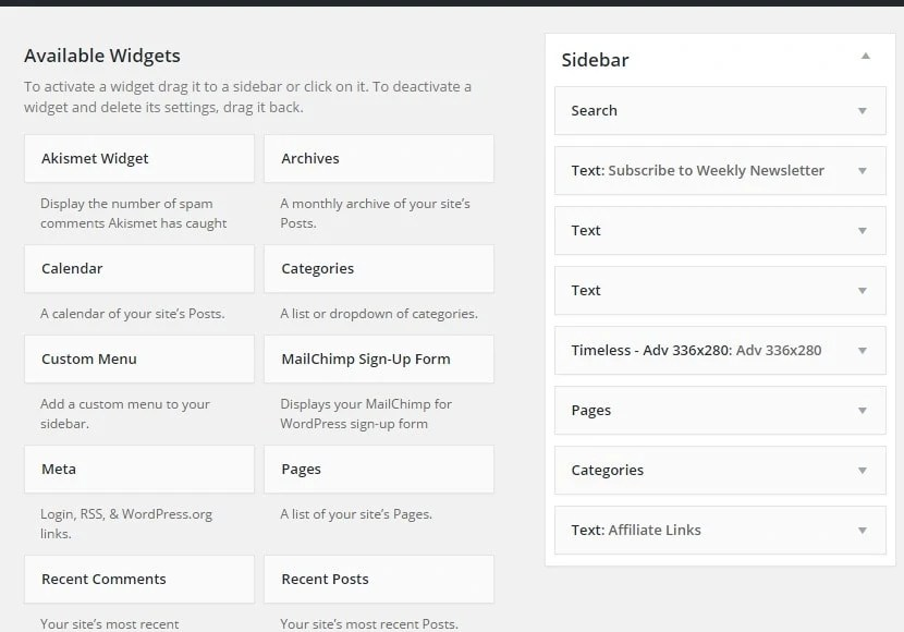 how to display categories in sidebar