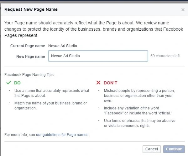change facebook fan page name