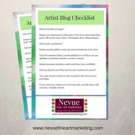 art blog checklist - Nevue Fine Art Marketing