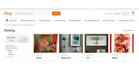 etsy - Nevue Fine Art Marketing
