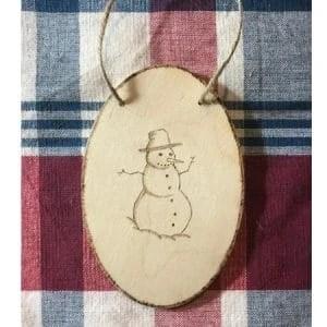 SnowmanWood Burning Christmas Ornament