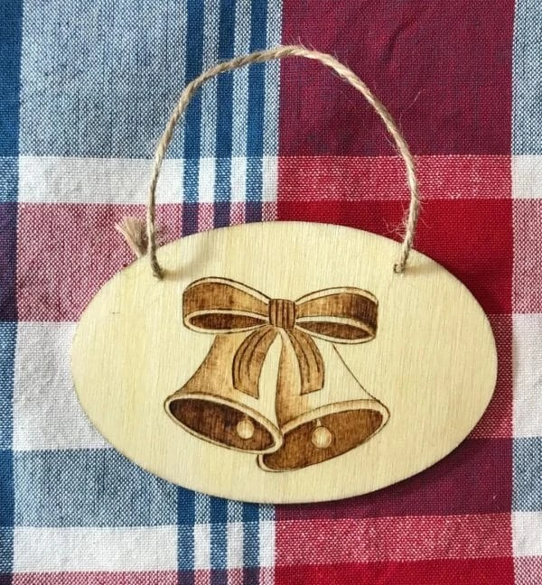 Christmas Bells Wood Burning Ornament