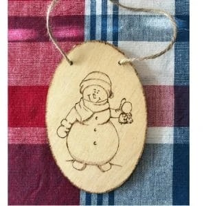 Snowman With Bells Wood Ornament