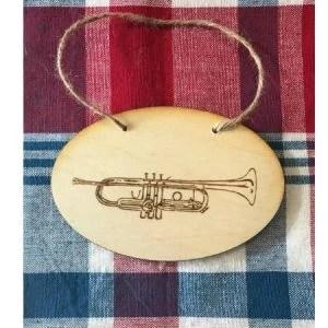 Trumpet Ornament Wood Burning