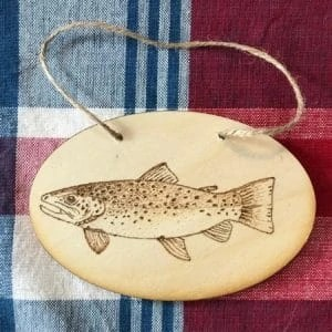 Trout Wood Burning Plaque