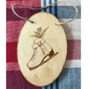 Ice Skate With Pine Cone and Berries Wood Ornament