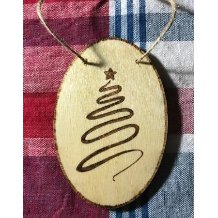 Christmas Tree Swirl Design Wood Ornament
