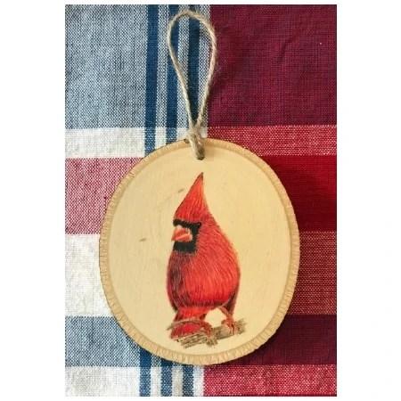 Cardinal Wood Burn And Prismacolor Ornament
