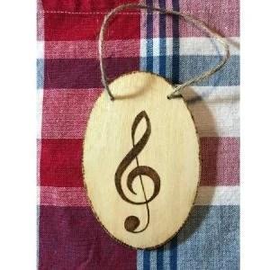 Treble Clef Wood Ornament