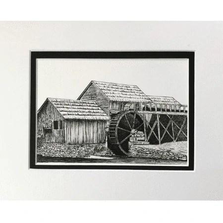 Rustic Watermill Original Drawing