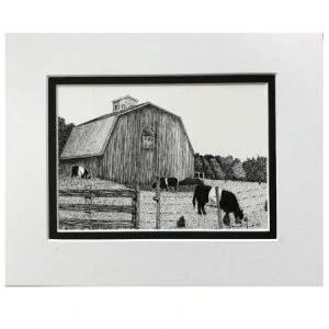 Michigan Farm With Oreo Cows Original Ink Drawing