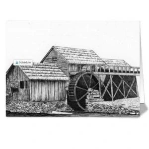 12 Rustic Watermill Greeting Cards