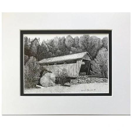 West Virginia Covered Bridge Original Ink Drawing