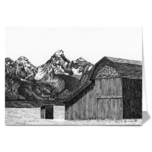 Tranquil Days Wooden Barn With Mountains Greeting Cards