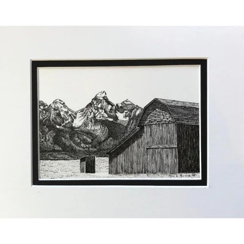 Tranquil Days Wooden Barn With Mountains Ink Drawing