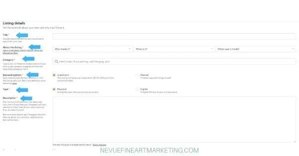 etsy listing details