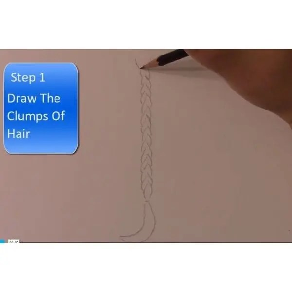 braid drawing outline