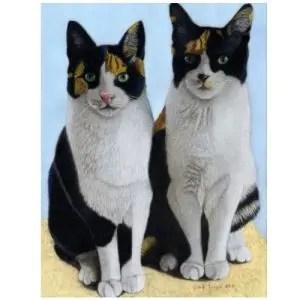 Khloe and Katie Commission Cat Portrait Giclee Prints