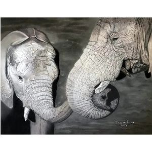 Elephant And Calf Pastel Painting