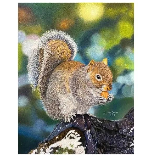 Snack Time Squirrel Original Pastel Painting