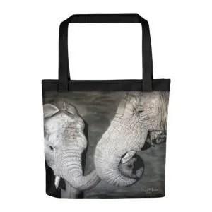 Elephant And Calf Tote Bag