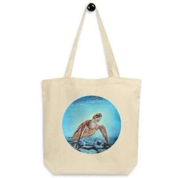 sea turtle eco friendly tote bag