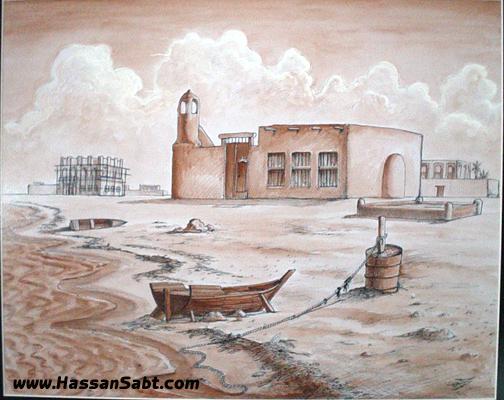 رسم بيوت قديمة من الطين
