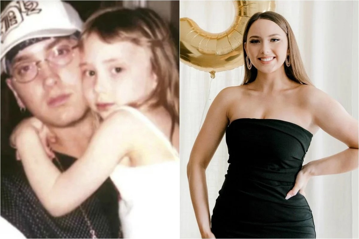 Eminem with his daughter Hailie Mathers (then and now)