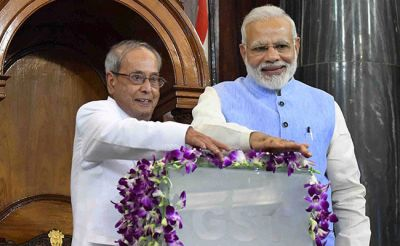 Narendra Modi and Pranab Mukherjee