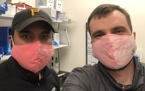 John Pattison and Ian Johnson in New Harvest masks