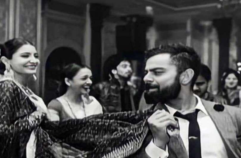 Virat Kohli seen dancing with wife Anushka's dupatta