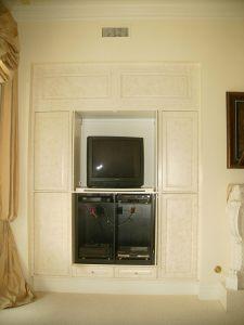 Sponge painted cabinet