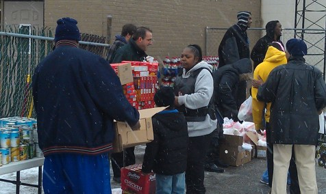 People from Meijer, the West Michigan Lake Hawks ABA basketball team and others in the community helped with this year's turkey giveaway.