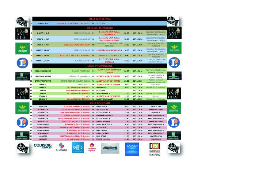 horarios jornada 12/13 de Noviembre