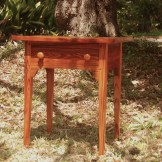 Hand Tooled Heart Pine Small Table with dove tale drawer