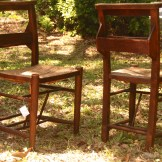 Restored Circa 1900 Prayer Chairs with rushed seat and book rack