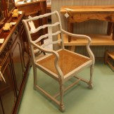 French chair with caned seat in distressed chalk grey