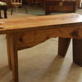 Signed and numbered hand crafted Live Oak bench by James Semmens
