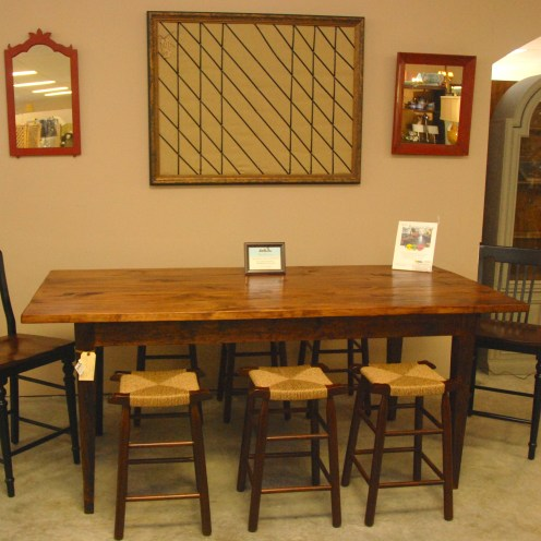 Counter Height Farm Table with USA made Rushed Stools
