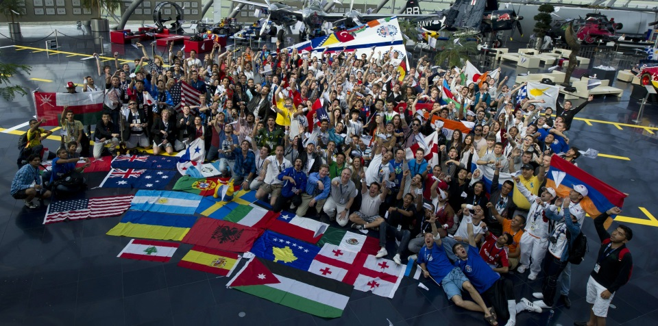 Competitors pose for a group portrait at the Red Bull Paper Wings World Finals 2012
