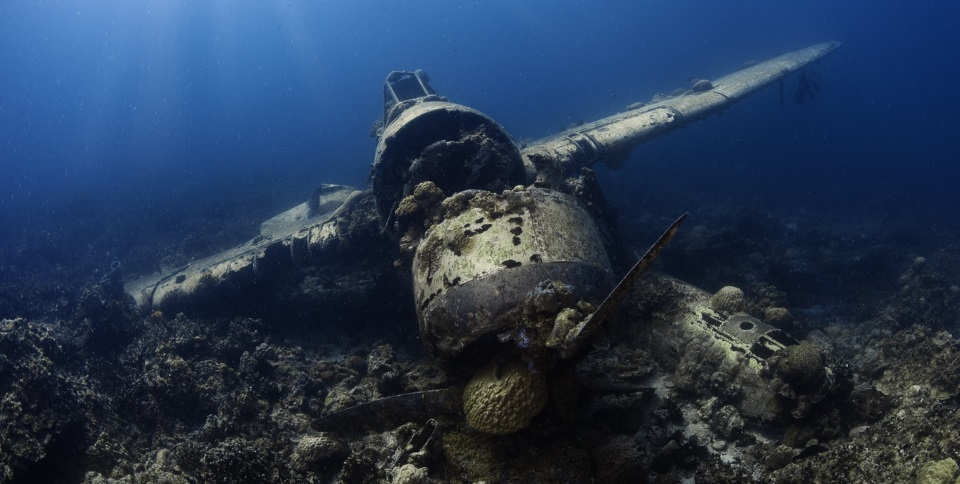 Razbitina letala pod vodo v Palau