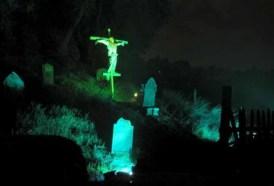 A smattering of hillside tombstones at Heritage Haunt