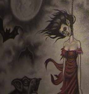 A closeup detail of a painting at October Shadows IV